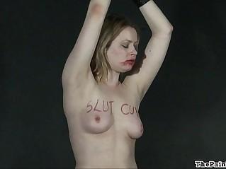 Lesbian humiliation and bizarre lezdom bondage of blonde Amber in femdom bdsm