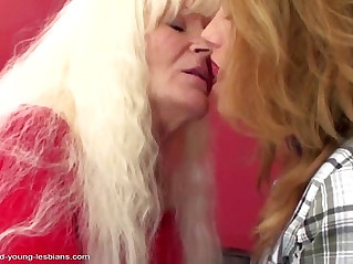 Old lesbian granny fucks her young sweet lesbian girl.More