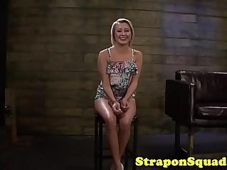 Lezdom dominates babe with huge strapon