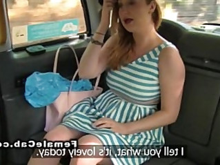 Lesbians playing around with huge dildo in fake taxi