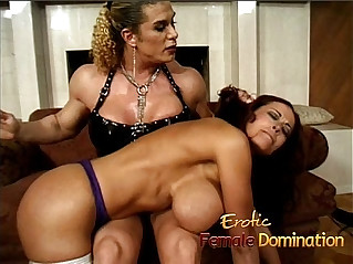 Milf masturbates with massive fake tits dominated by an angry bodybuilder