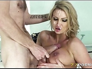 Sexy young blonde pornstar babe Leigh Darby cum blasted on big tits