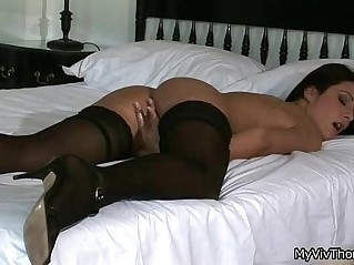 Horny babe sexy black stockings makes