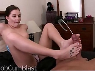 Brandi belle footjob with her huge facial cumshot