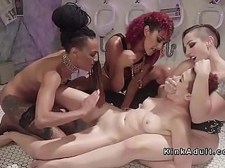 New lesbian slave spanked in group lezdom